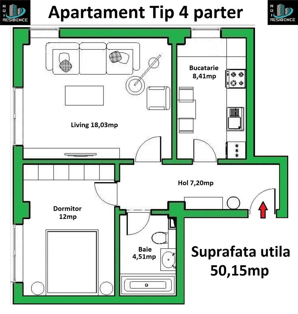 Apartament 2 camere 50,15mp parter in bloc 2019 cu loc de parcare gratuit