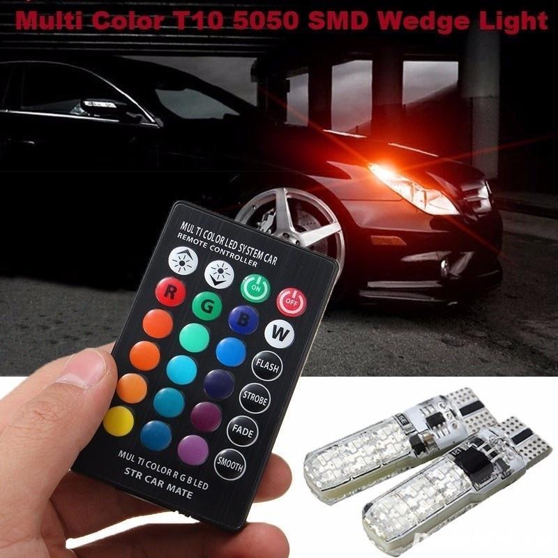 Set 2 Becuri LED RGB Auto Cu Telecomanda