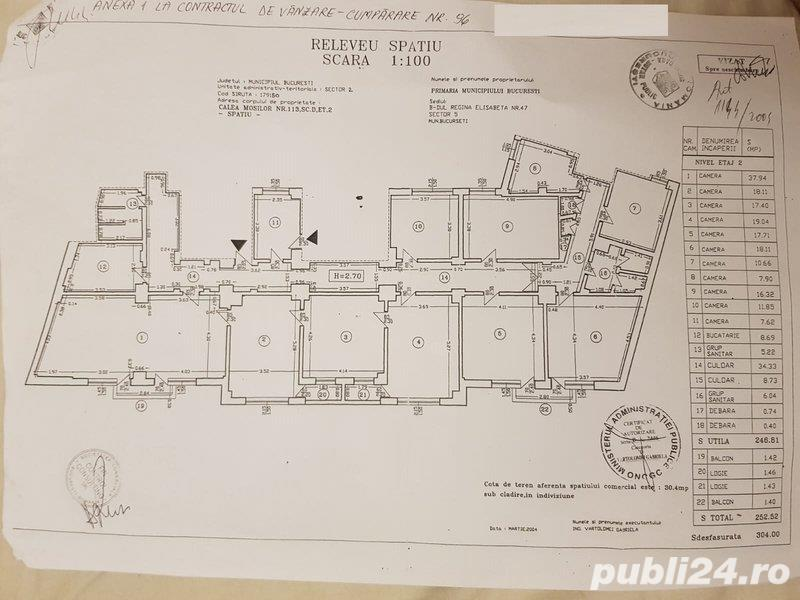Proprietar inchiriez Spatiu Comercia lCalea Mosilor centrul vechi 12 camere decomandate 253m2 utili