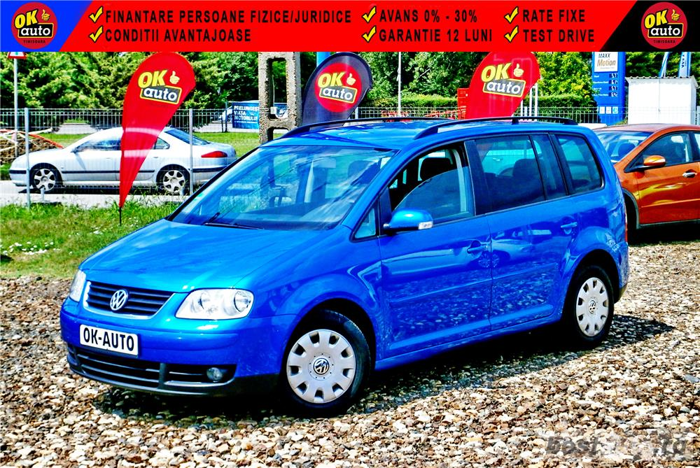 VW TOURAN 7 LOCURI - DIESEL - EURO 4 - GARANTIE 12 LUNI - vanzare in RATE FIXE cu avans 0%