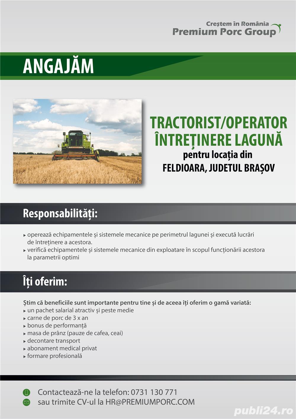 Recrutam tractorist/ingrijitor lagune zona Feldioara, Jud. Brasov
