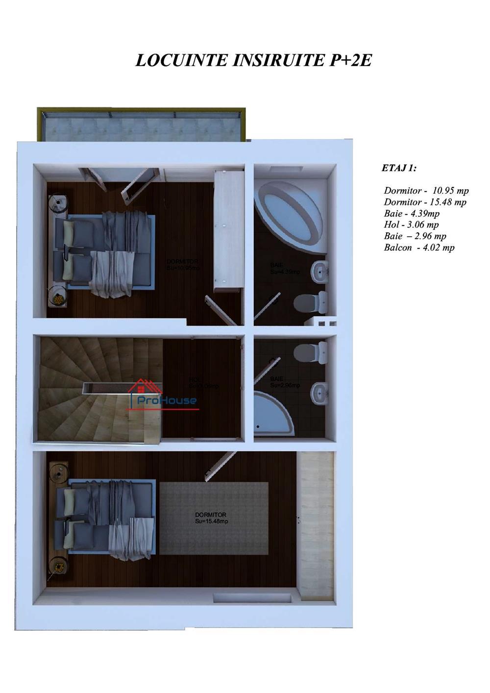 Casa 4 camere 124 mp utili curte si loc de parcare