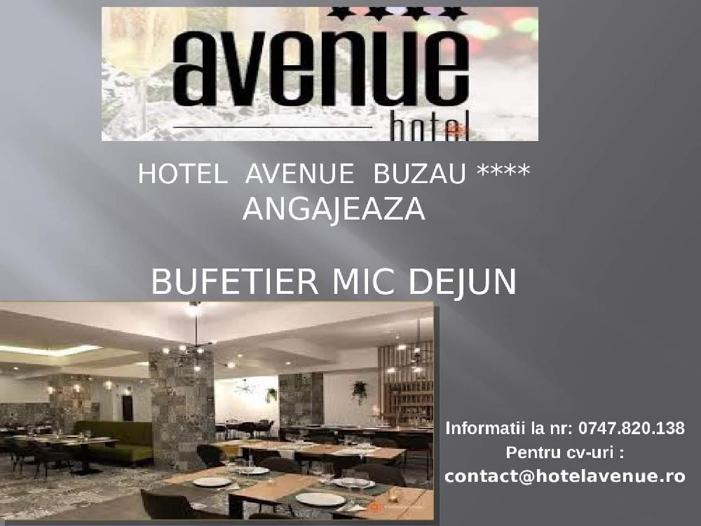 Hotel Avenue angajeaza