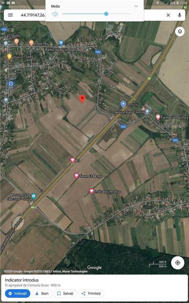 Vand teren 6144 m2,Gruiu_ilfov .km 36 A3,la 15 min de linia de .centura