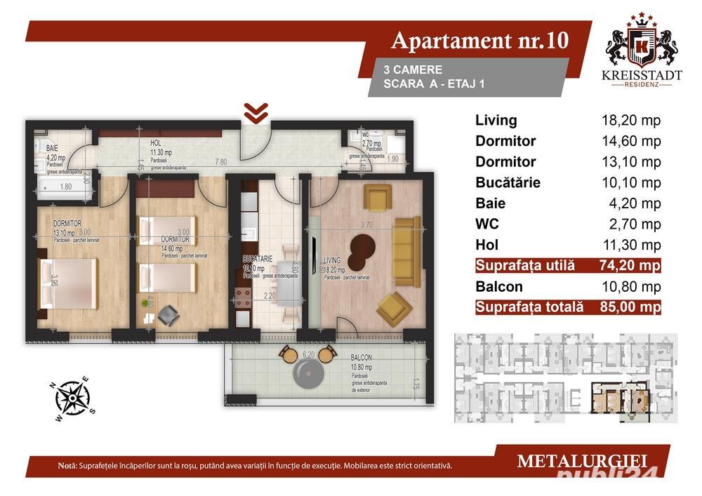 Ultimul apartament 3 camere 5 minute de metrou