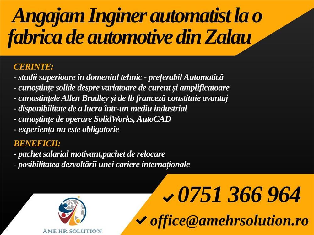 Angajam Inginer automatist la o fabrica de automotive din Zalau,Cluj