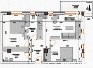 2 camere 55 mp semifinisate,  si loc de parcare subteran inclus in pret - imagine 7