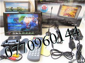 Televizor auto 12V 220V USB 18 cm Color, slot de card  si USB, priza 220V si adaptor pentru - imagine 3