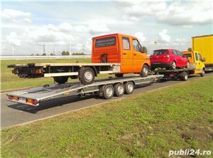 de inchiriat trailer dublu platforma transport doua auto remorci cu prelata auto moto atv - imagine 8