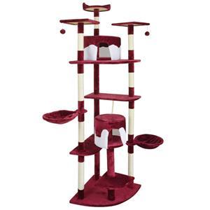 vidaXL Ansamblu pentru pisici, 213 cm, rosu si alb - imagine 1