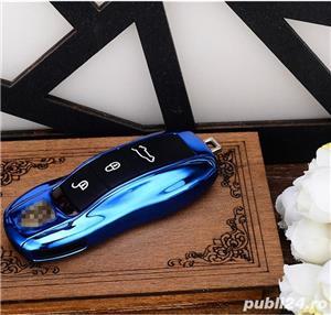 Carcasa Cheie Porsche Set 3 Buc Albastru Metalizat - imagine 6