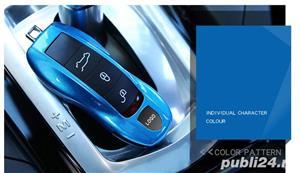 Carcasa Cheie Porsche Set 3 Buc Albastru Metalizat - imagine 4