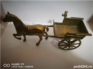 Cal, caruta, trasura, caleasca, bronz 37x17 cm, antica, veche,colectie - imagine 9