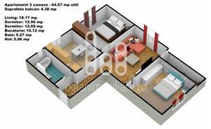 Apartament 3 camere cu gradina, Calea Cisnadiei - imagine 3