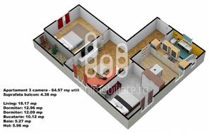 Apartament 3 camere cu gradina, Calea Cisnadiei - imagine 2