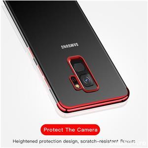 Husa Samsung S9 plus, silicon, anti-amprenta, transparent si roz, GD820 - imagine 2