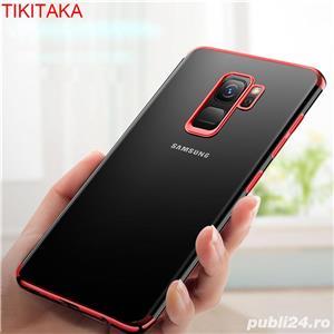 Husa Samsung S9 plus, silicon, anti-amprenta, transparent si roz, GD820 - imagine 7