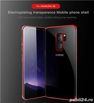 Husa Samsung S9 plus, silicon, anti-amprenta, transparent si roz, GD820 - imagine 4