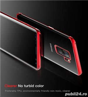 Husa Samsung S9 plus, silicon, anti-amprenta, transparent si roz, GD820 - imagine 5