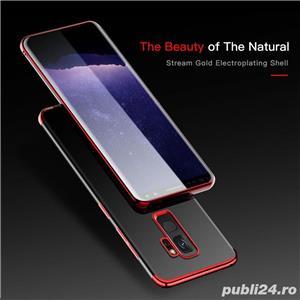 Husa Samsung S9 plus, silicon, anti-amprenta, transparent si roz, GD820 - imagine 3
