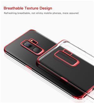Husa Samsung S9 plus, silicon, anti-amprenta, transparent si roz, GD820 - imagine 6