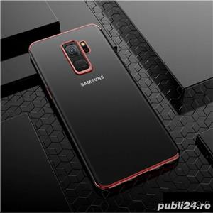 Husa Samsung S9 plus, silicon, anti-amprenta, transparent si roz, GD820 - imagine 1