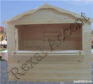 Casute de lemn pentru targuri, Chioscuri comerciale din lemn cu trei deschideri - imagine 1