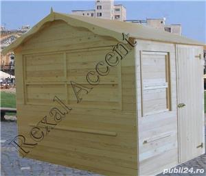 Casute de lemn pentru targuri, Chioscuri comerciale din lemn cu trei deschideri - imagine 2