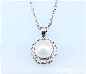 Set bijuterii din argint cu perla alba - imagine 2