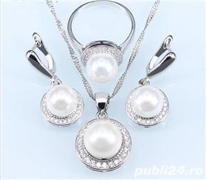 Set bijuterii din argint cu perla alba - imagine 1