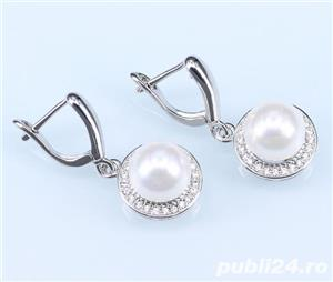 Set bijuterii din argint cu perla alba - imagine 3