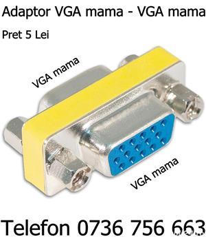 Adaptor VGA mama pt prelungire si schimbare mufa cablu VGA laptop monitor calculator unitate pc, etc - imagine 2
