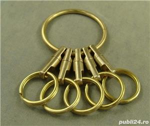 Breloc chei din alama, inele alama, heavy-duty - imagine 2
