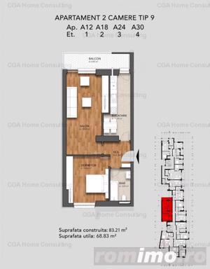Apartament  de vanzare, cu 2 camere si bucatarie de 11 mp, in zona Mariott - imagine 12