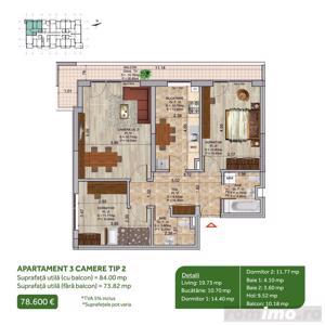 Apartament 3 camere, Pallady, Metrou Nicolae Teclu, Sector 3 - imagine 2