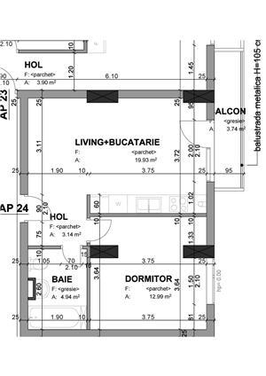 Proprietar - apartament 1 camera 37 mp+balcon in bloc nou str. Lidia - imagine 3