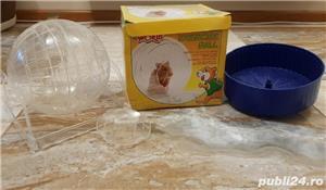 Cusca iepuri hamsteri guineea rozatoare plus roata si bila cu suport, cadou - imagine 3