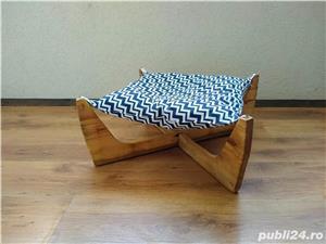 Pat/Hamac/Culcus pentru pisici + suport cu 2 boluri pentru mancare. - imagine 4