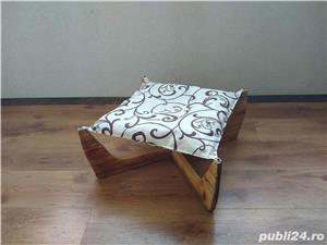 Pat/Hamac/Culcus pentru pisici + suport cu 2 boluri pentru mancare. - imagine 3