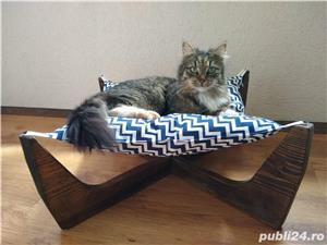 Pat/Hamac/Culcus pentru pisici + suport cu 2 boluri pentru mancare. - imagine 2