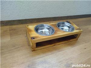 Suport cu 2 boluri pentru mancare/apa, pisici/catei - imagine 3