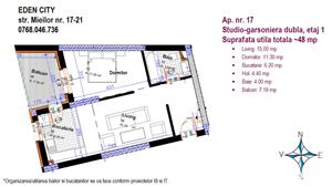 Piata Muncii Studio Modern bine compartimentantat 81900E - imagine 2