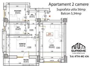 Apartament nou , INTABULAT, 2 camere 56 mp utili, Doamna Stanca - imagine 9