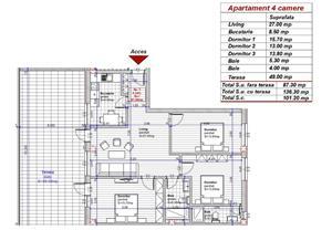 Dezvoltator penthouse 4 cam 2 bai etaj 2 la alb conf 1 decomandat 87+49 mp - imagine 8