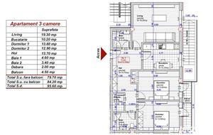 Dezvoltator apartam 3 cam 2 bai conf 1 decom 80+5 mp et 1 la alb Turnisor - imagine 7