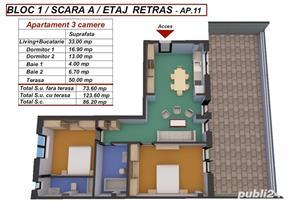 Dezvoltator apart tip penthouse 3 cam 2 bai la alb supraf 74mp+50mp Turnisor - imagine 3