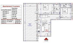 Dezvoltator apart tip penthouse 3 cam 2 bai la alb supraf 74mp+50mp Turnisor - imagine 2