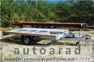 de inchiriat trailer dublu platforma transport doua auto remorci cu prelata auto moto atv - imagine 7