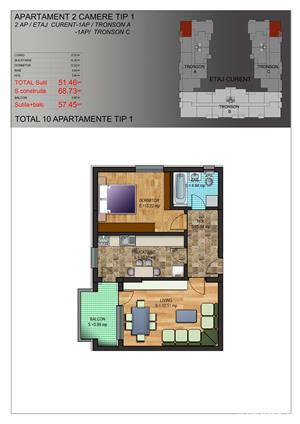 Apartament 2 camere , 58 mpu , zona MIlitari sector 6 - imagine 4