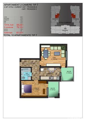 Apartament 2 camere 61 mpu zona MIlitari langa Gradinita 208 - imagine 2